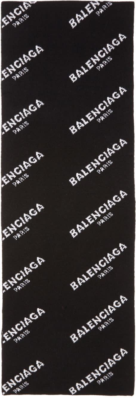 Image of Balenciaga Black All Over Logo Scarf