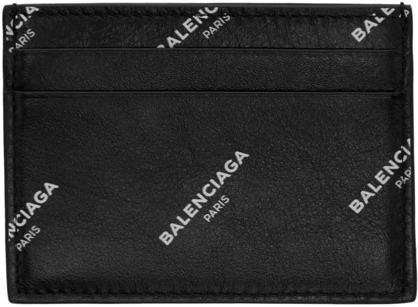 Image of Balenciaga Black All Over Logo Card Holder