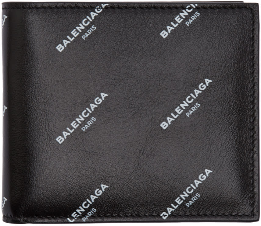Image of Balenciaga Black All Over Logo Bifold Wallet
