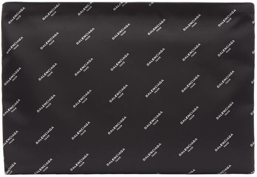 Image of Balenciaga Black All Over Logo Explorer Pouch