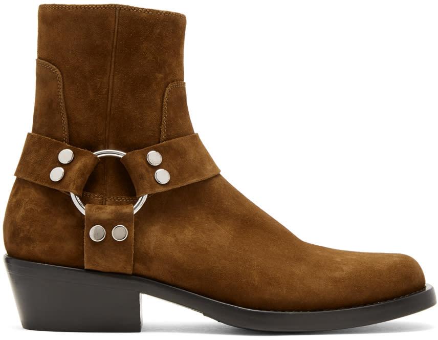Balenciaga Brown Suede Harness Buckle Boots