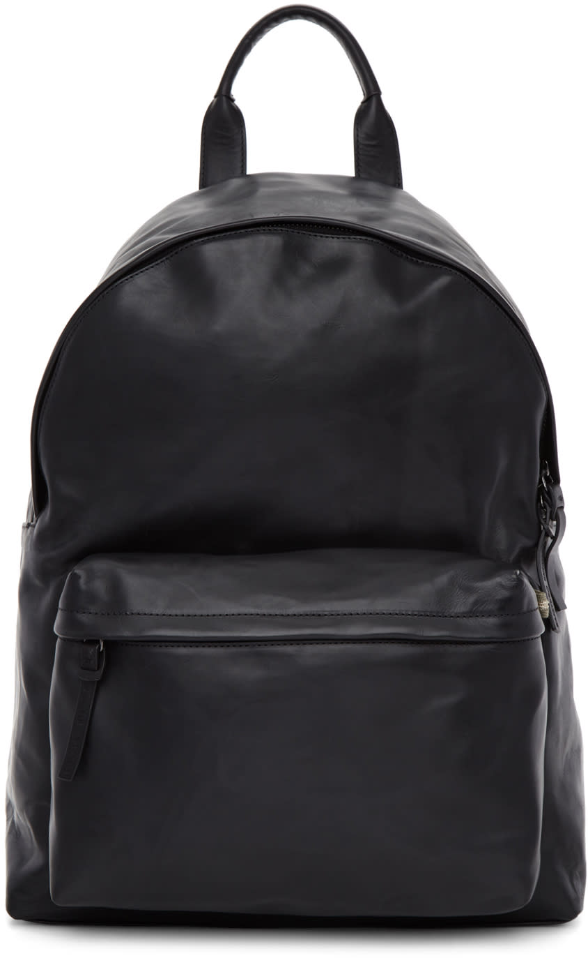 Officine Creative Black Leather Oc Pack Backpack