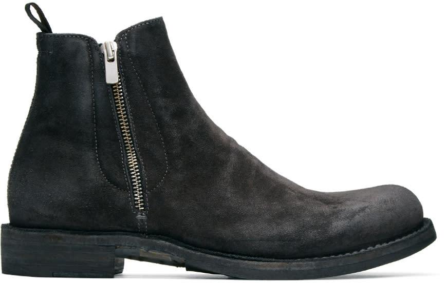 Officine Creative Grey Suede Ikon 39 Zip Boots