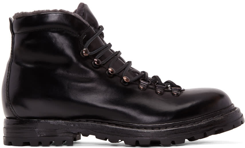 Image of Officine Creative Black Shearling Kontra Hiking Boots