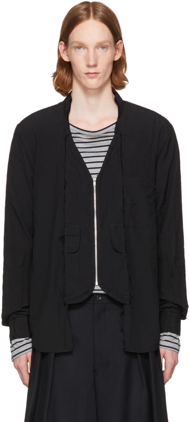 Image of Comme Des Garçons Homme Plus Black Frayed Cut-out Zip Shirt