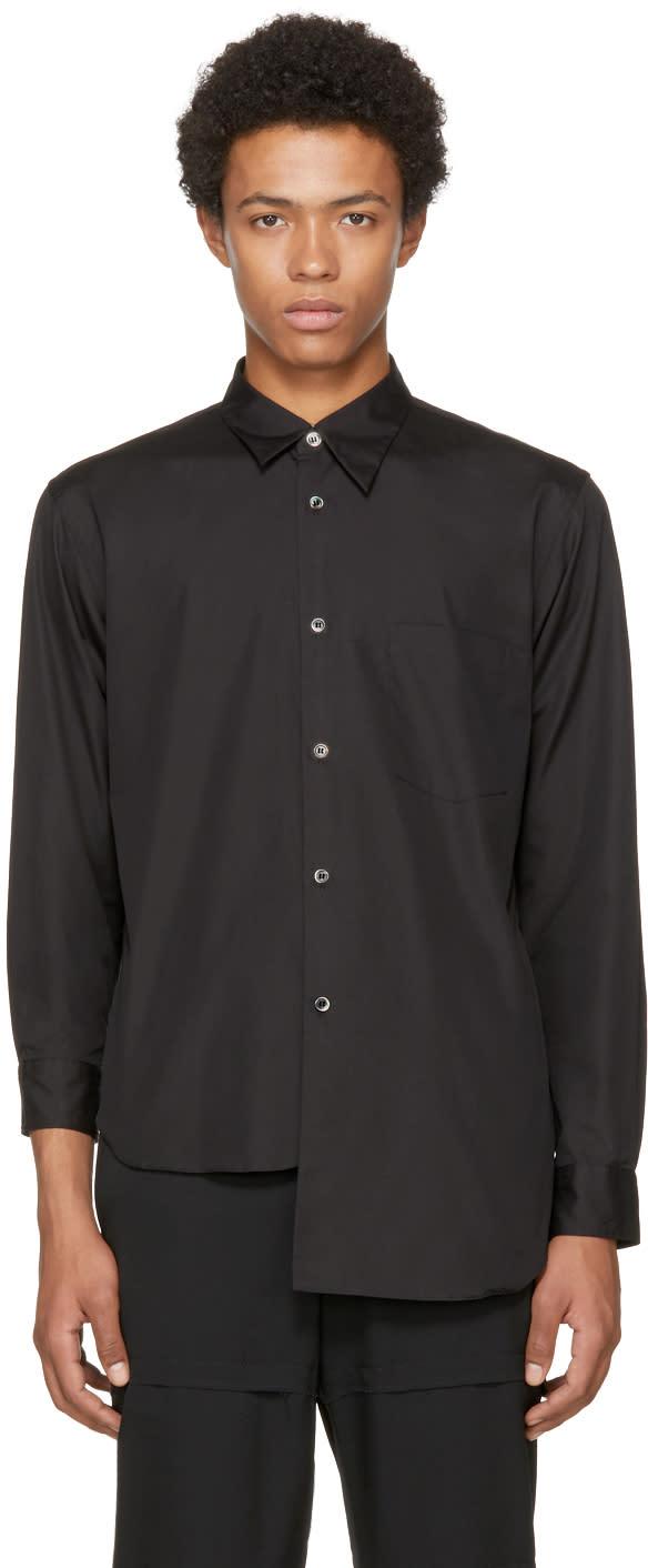 Image of Comme Des Garçons Homme Plus Black Asymmetric Shirt