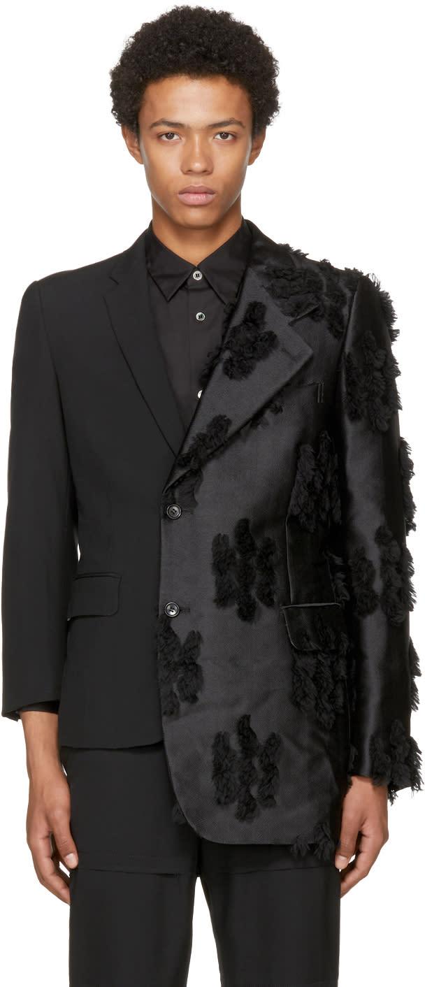 Image of Comme Des Garçons Homme Plus Black Asymmetric Silk Jacquard Blazer