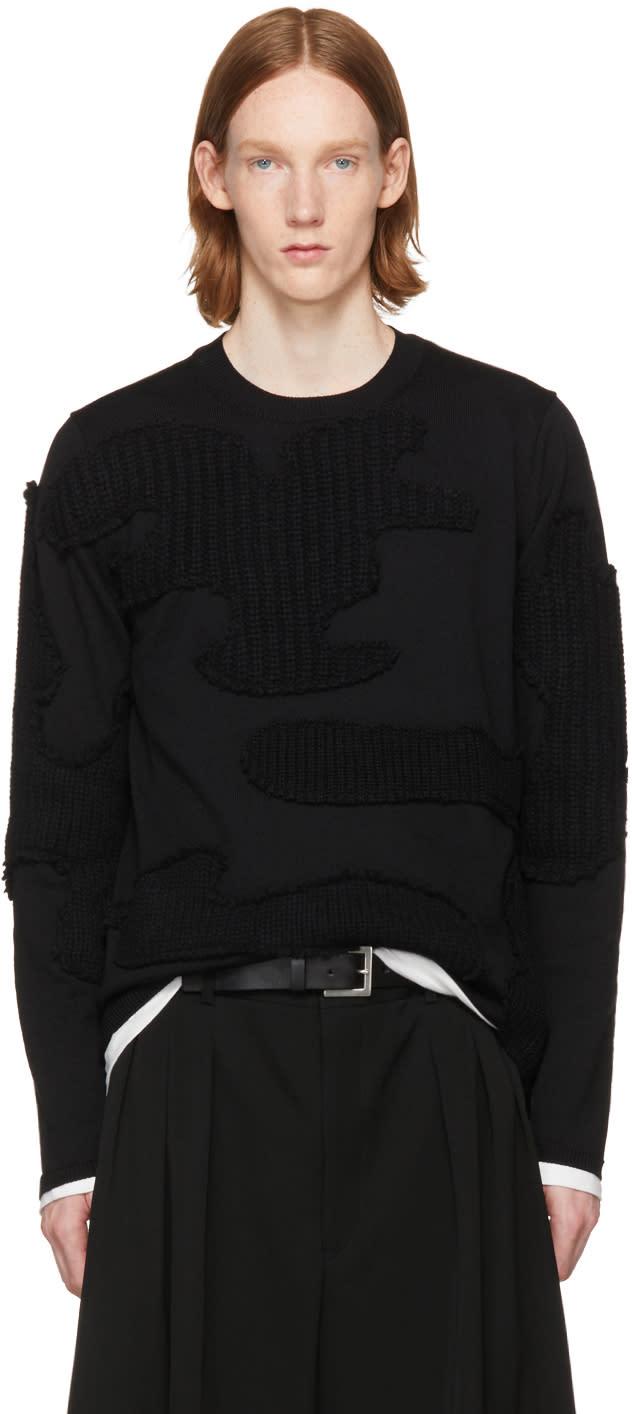 Image of Comme Des Garçons Homme Plus Black Cable Knit Appliqués Sweater