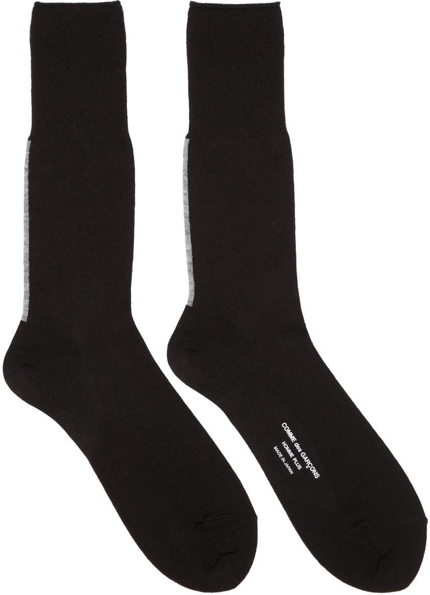 Image of Comme Des Garçons Homme Plus Black Back Stripe Jersey Socks