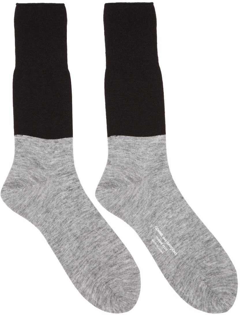 Image of Comme Des Garçons Homme Plus Black and Grey Colorblocked Jersey Socks