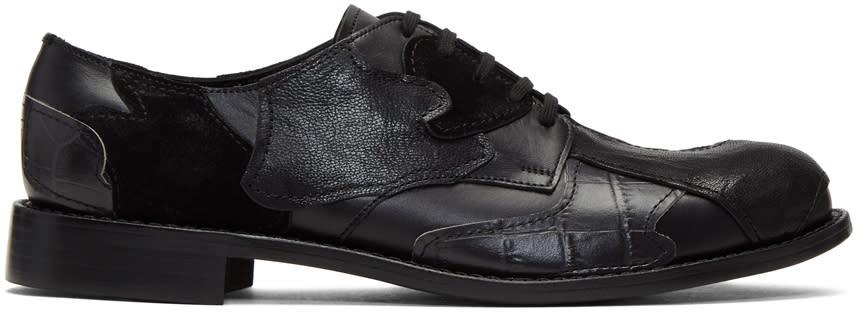 Comme Des Garcons Homme Plus Black Leather Patchwork Derbys