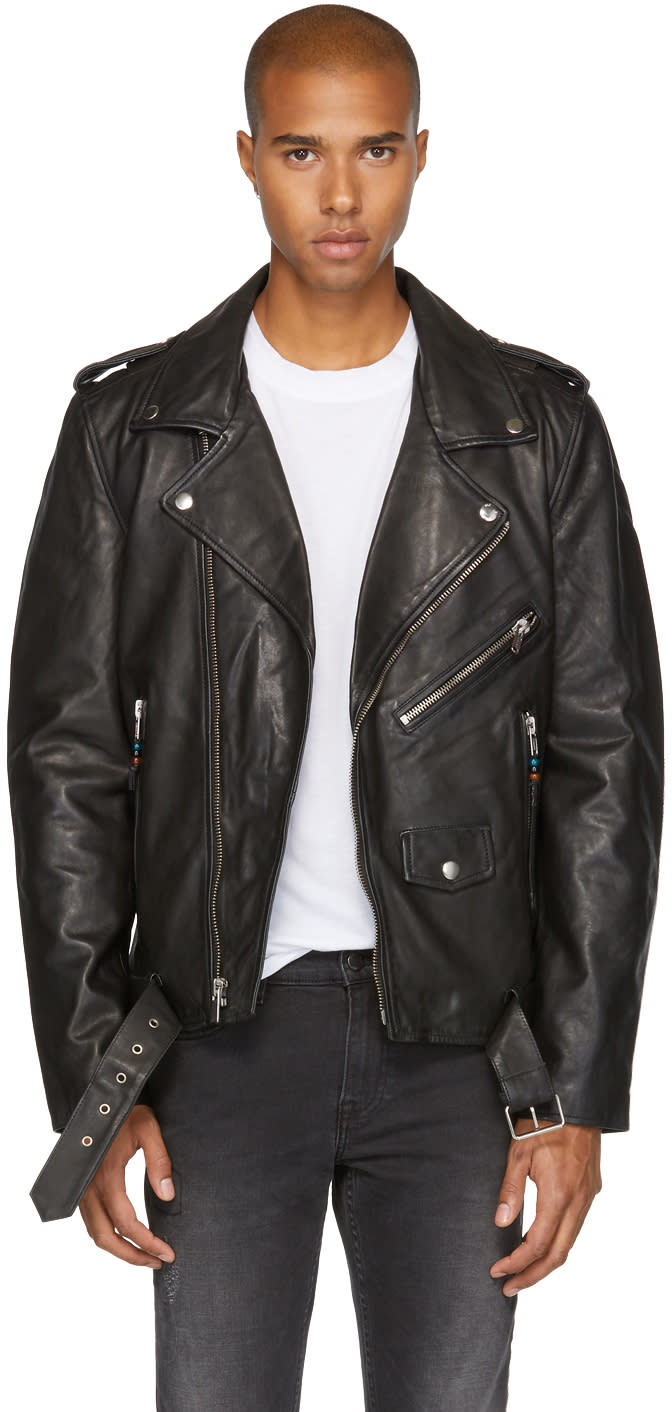 Image of Blk Dnm Black Leather Classic 5 Biker Jacket