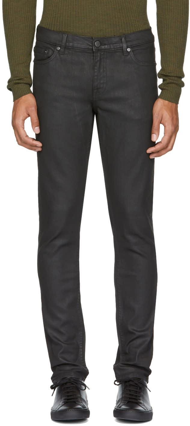 Image of Blk Dnm Black Coated Skinny Taper 5 Jeans