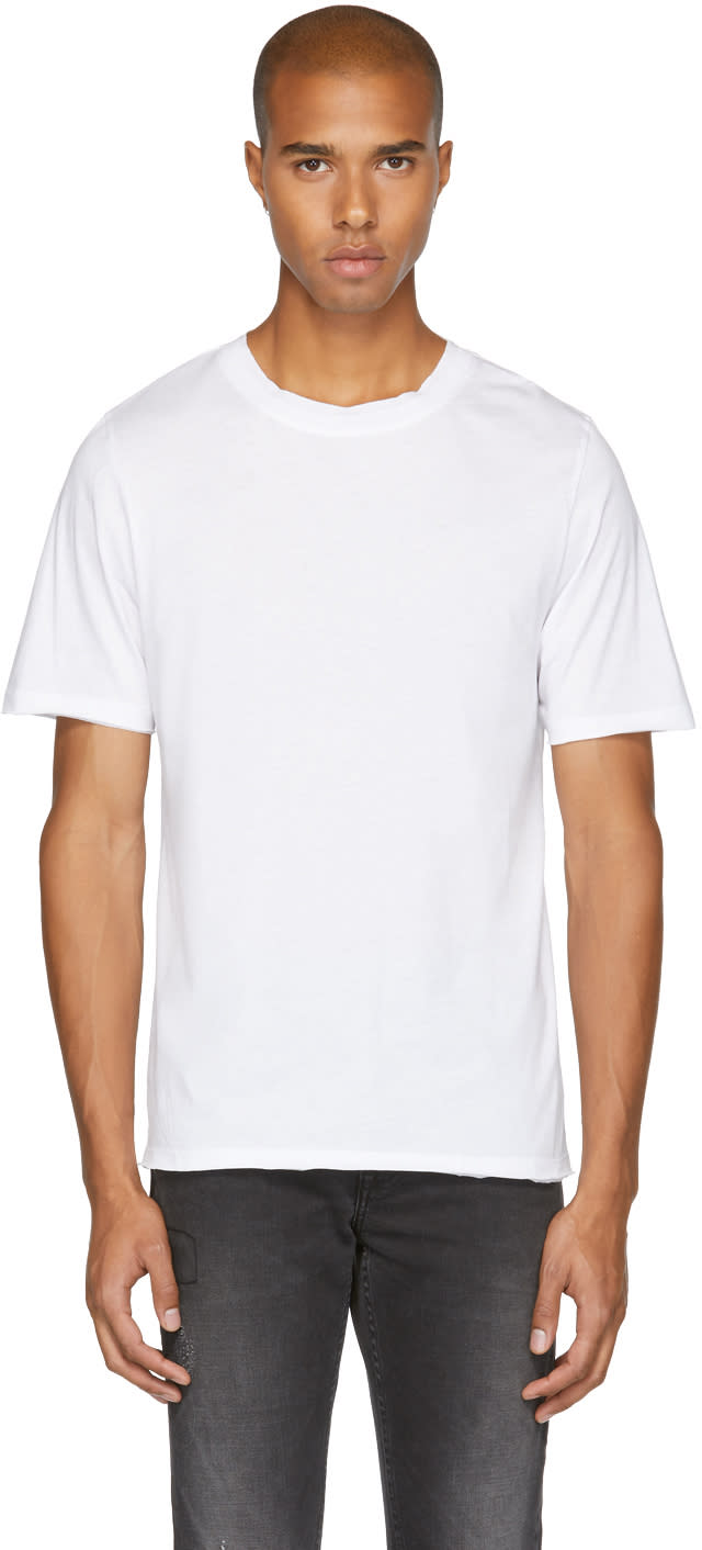 Image of Blk Dnm White 125 Raw Crewneck T-shirt