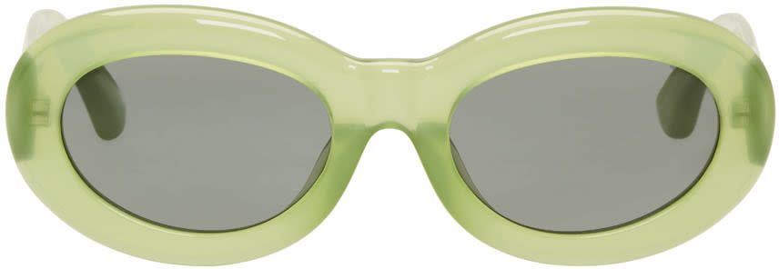 Image of Dries Van Noten Green Linda Farrow Edition Oval Sunglasses