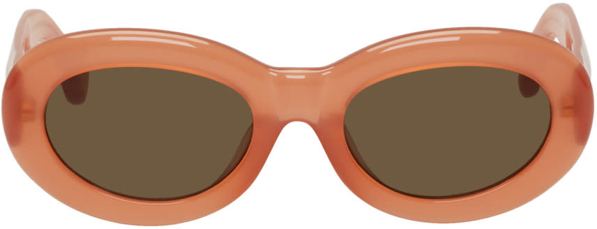 Image of Dries Van Noten Orange Linda Farrow Edition Oval Sunglasses