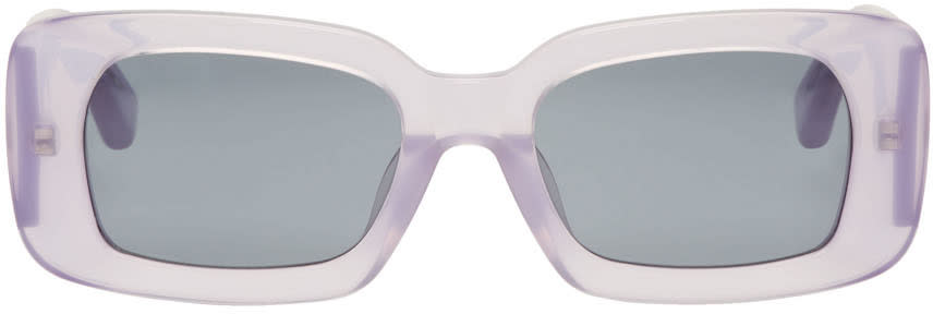 Image of Dries Van Noten Purple Linda Farrow Edition Rectangular Sunglasses
