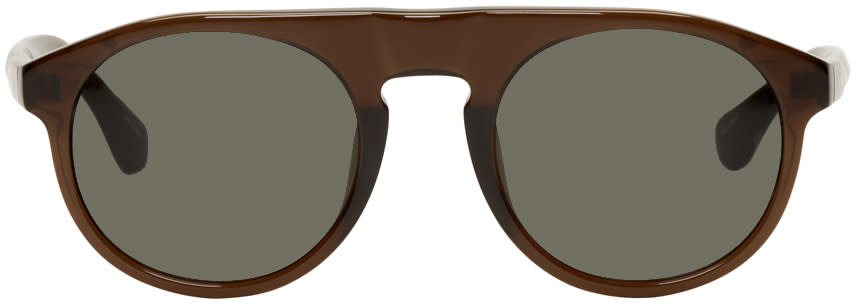 Image of Dries Van Noten Brown Linda Farrow Edition Round 91 Sunglasses