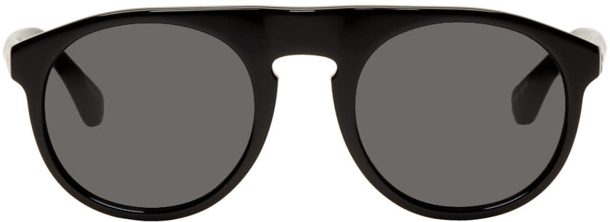 Image of Dries Van Noten Black Linda Farrow Edition Round 91 Sunglasses