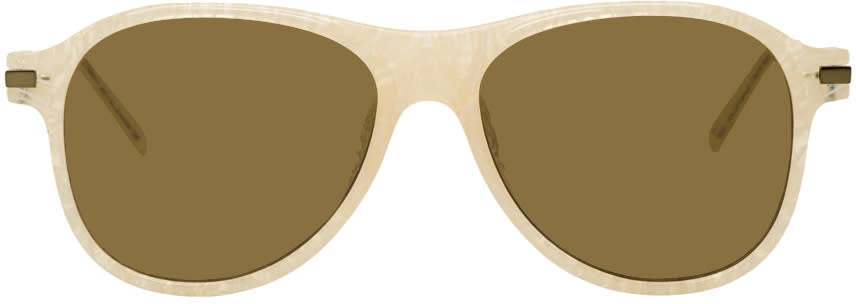 Image of Dries Van Noten Off-white Linda Farrow Edition 134 Aviator Sunglasses