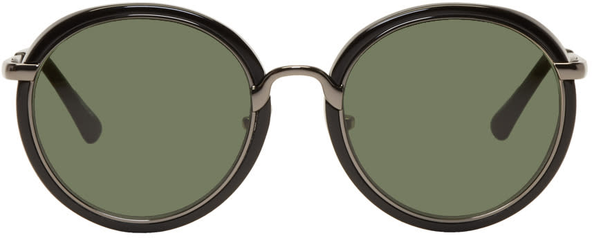 Image of Dries Van Noten Black and Gunmetal Linda Farrow Edition Round 78 Sunglasses