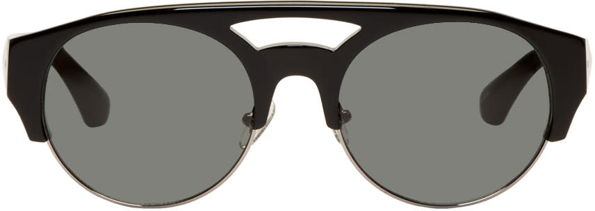 Image of Dries Van Noten Black and Silver Linda Farrow Edition Round 152 Sunglasses