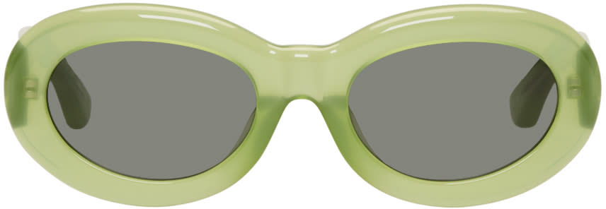 Image of Dries Van Noten Green Linda Farrow Edition Oval 135 Sunglasses
