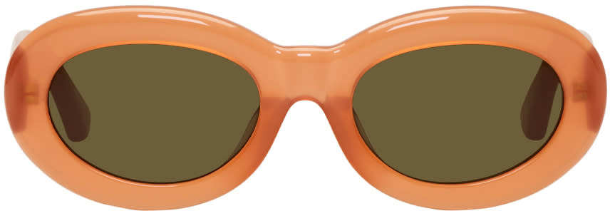 Image of Dries Van Noten Orange Linda Farrow Edition Oval 135 Sunglasses