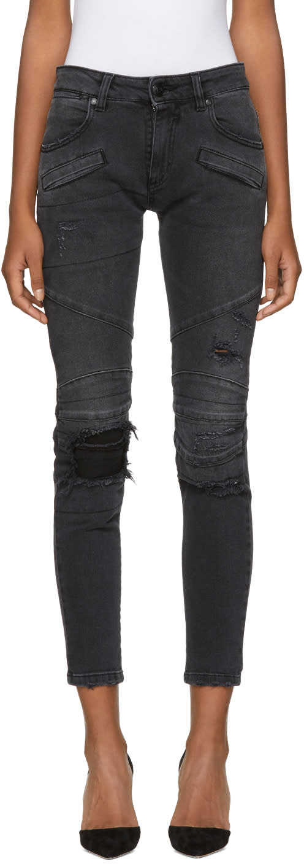 Image of Pierre Balmain Black Distressed Biker Jeans
