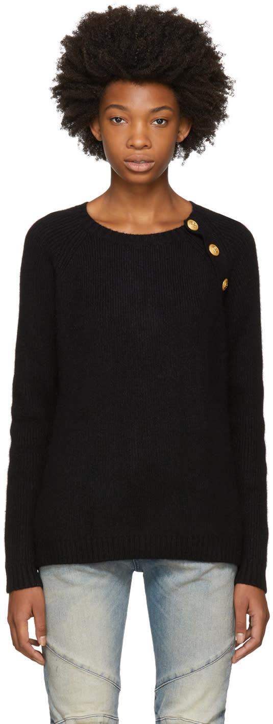 Image of Pierre Balmain Black Angora Buttoned Sweater