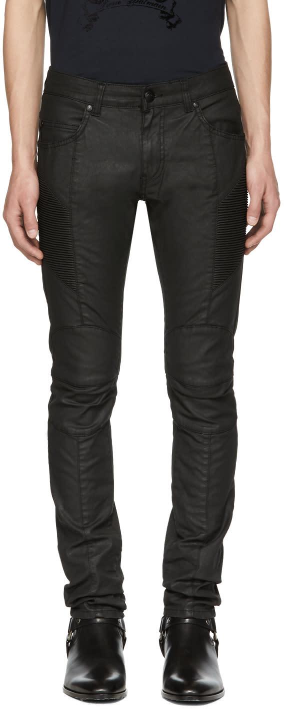 Image of Pierre Balmain Black Coated Biker Jeans