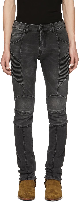 Image of Pierre Balmain Black Faded Biker Jeans