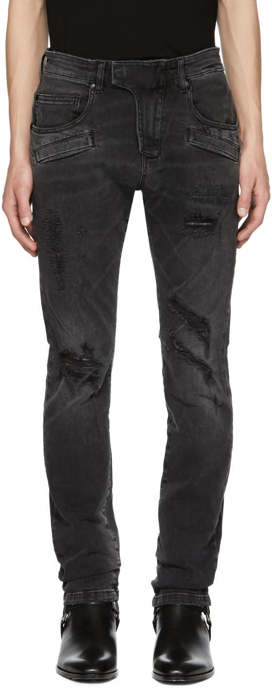 Image of Pierre Balmain Black Destroyed Biker Jeans