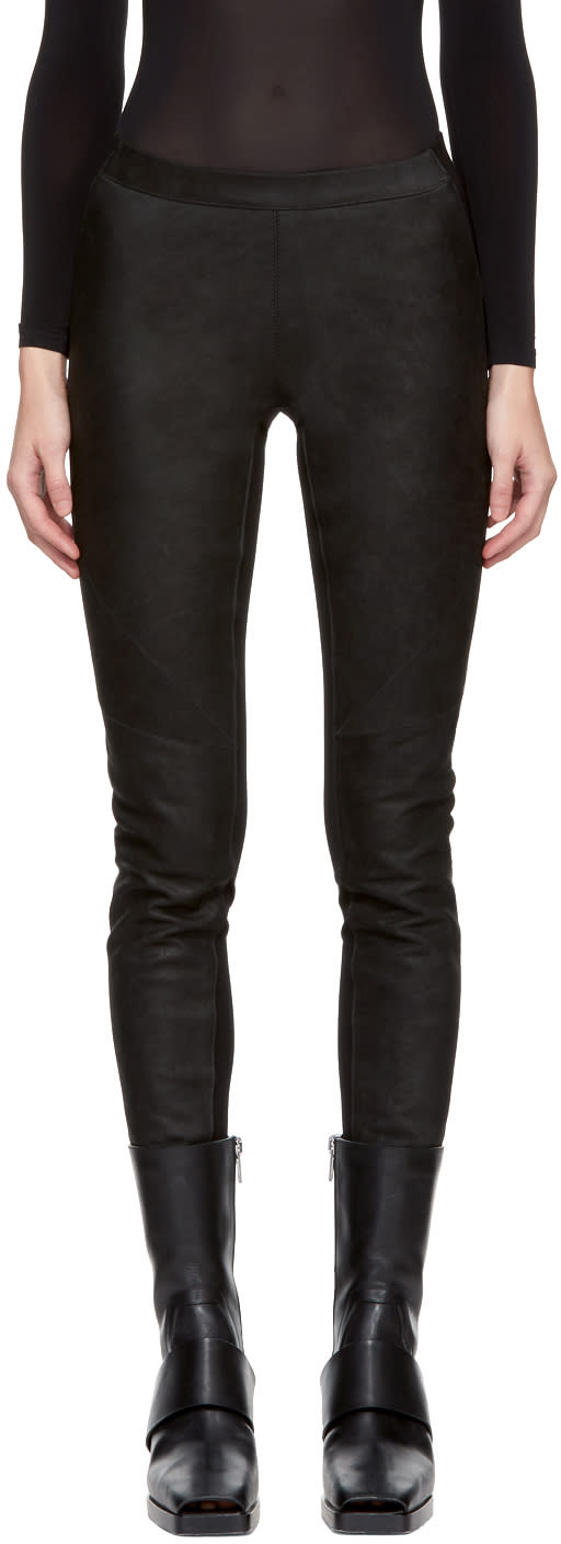 Image of Gareth Pugh Black Waxed Leather Pants