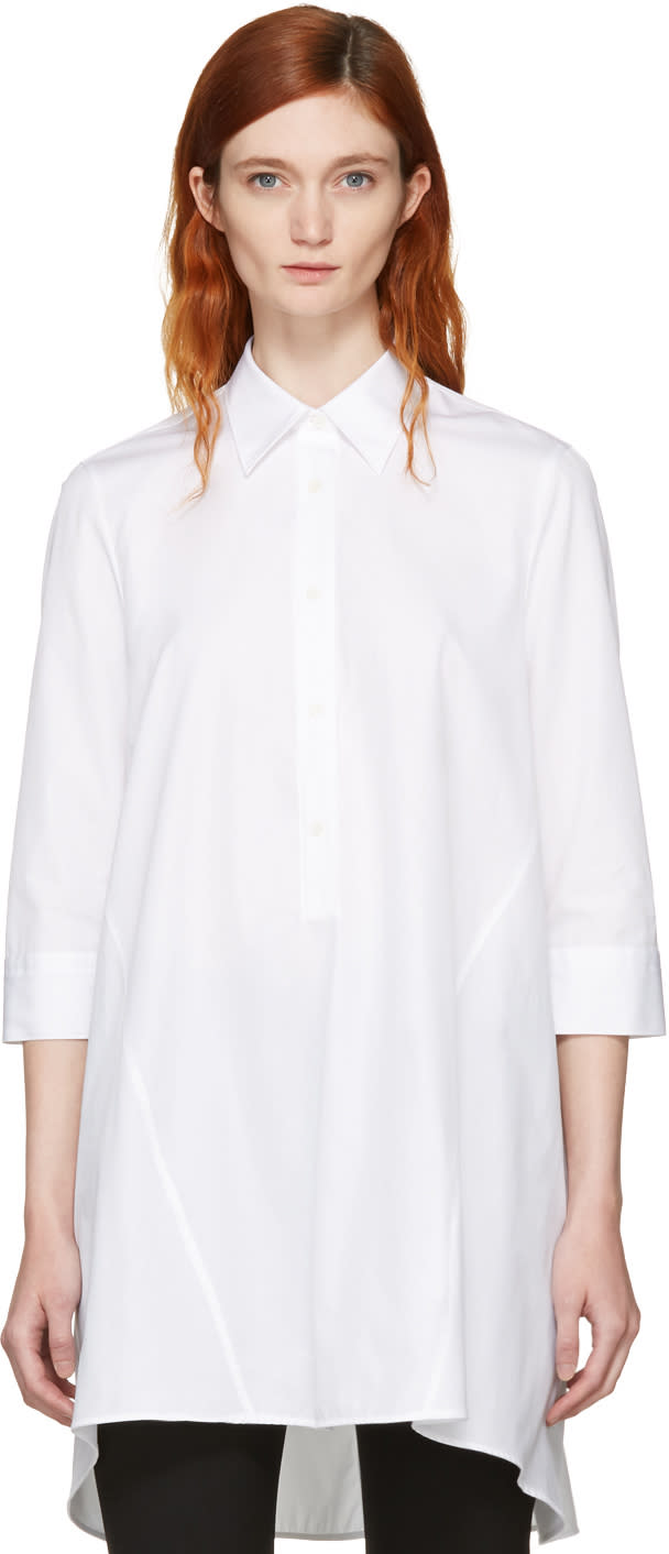 Neil Barrett White Irregular Cut Flared Shirt