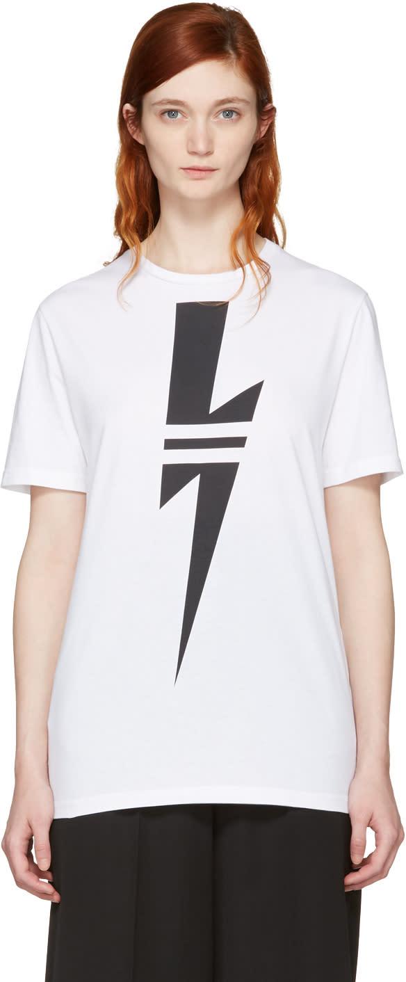 Neil Barrett White Double Stripe Thunderbolt T-shirt