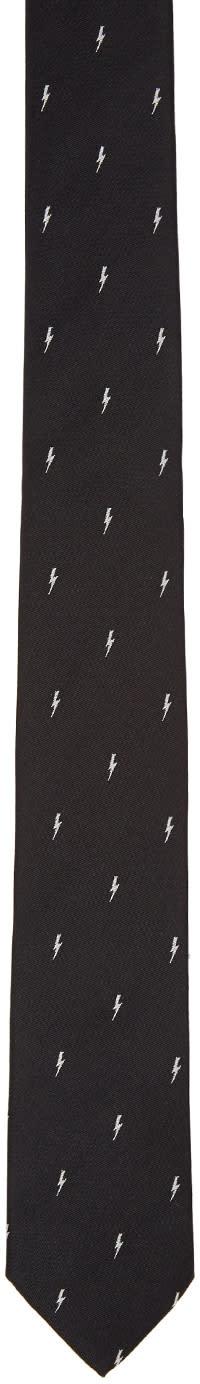 Neil Barrett Black Thunderbolt Skinny Tie