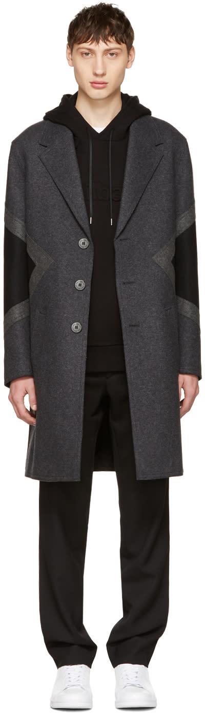 Neil Barrett Grey Wool Modernist Coat