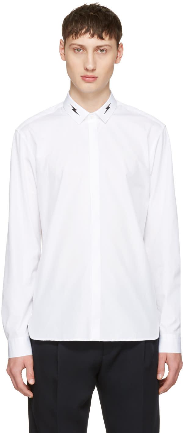 Neil Barrett White Thunderbolt Collar Shirt