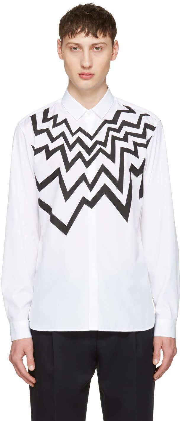 Neil Barrett White Serrated Fairisle Shirt