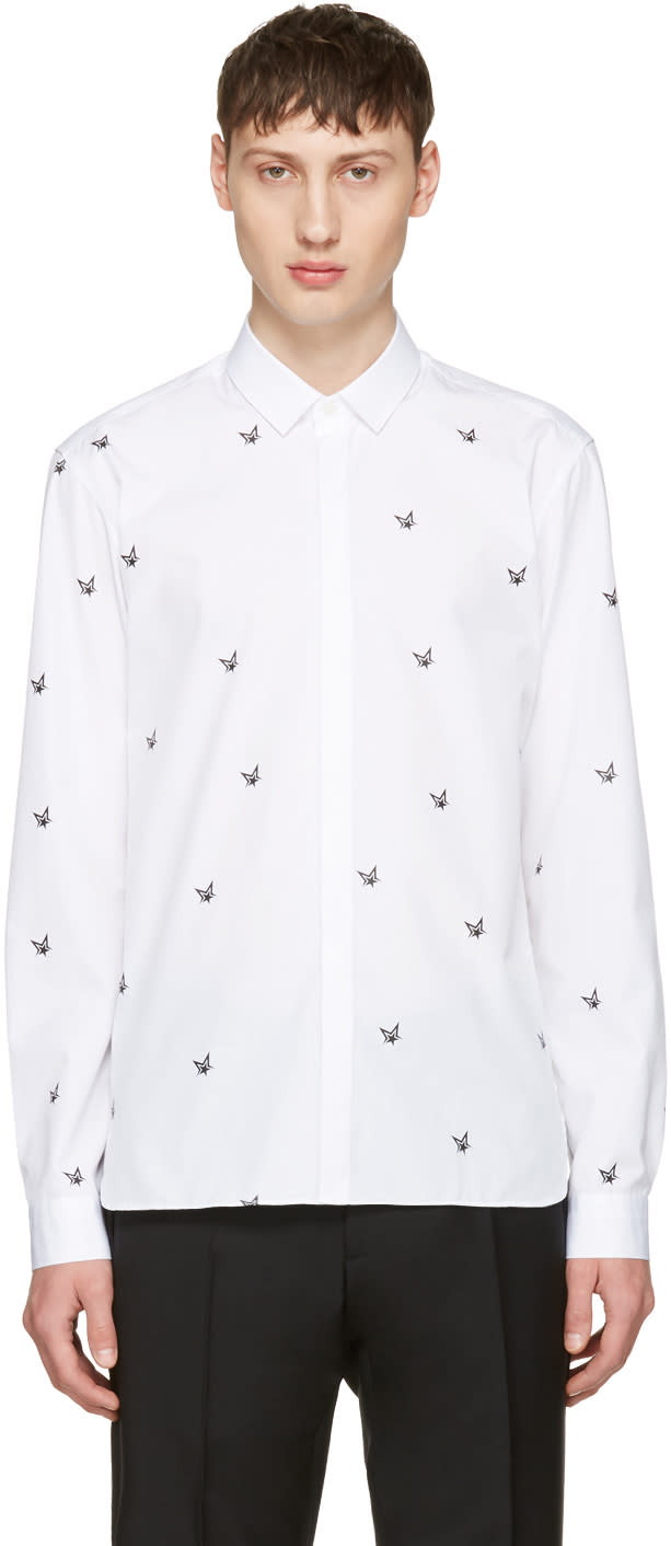 Neil Barrett White Irregular Stars Shirt
