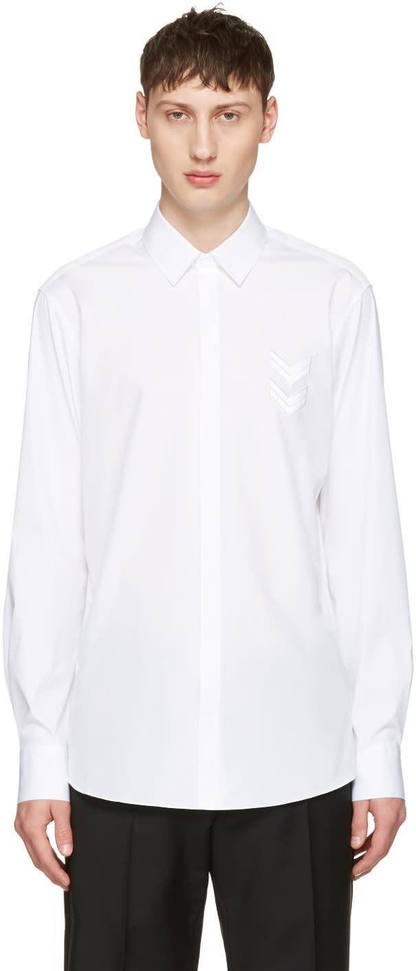 Neil Barrett White Front Chevron Patch Shirt