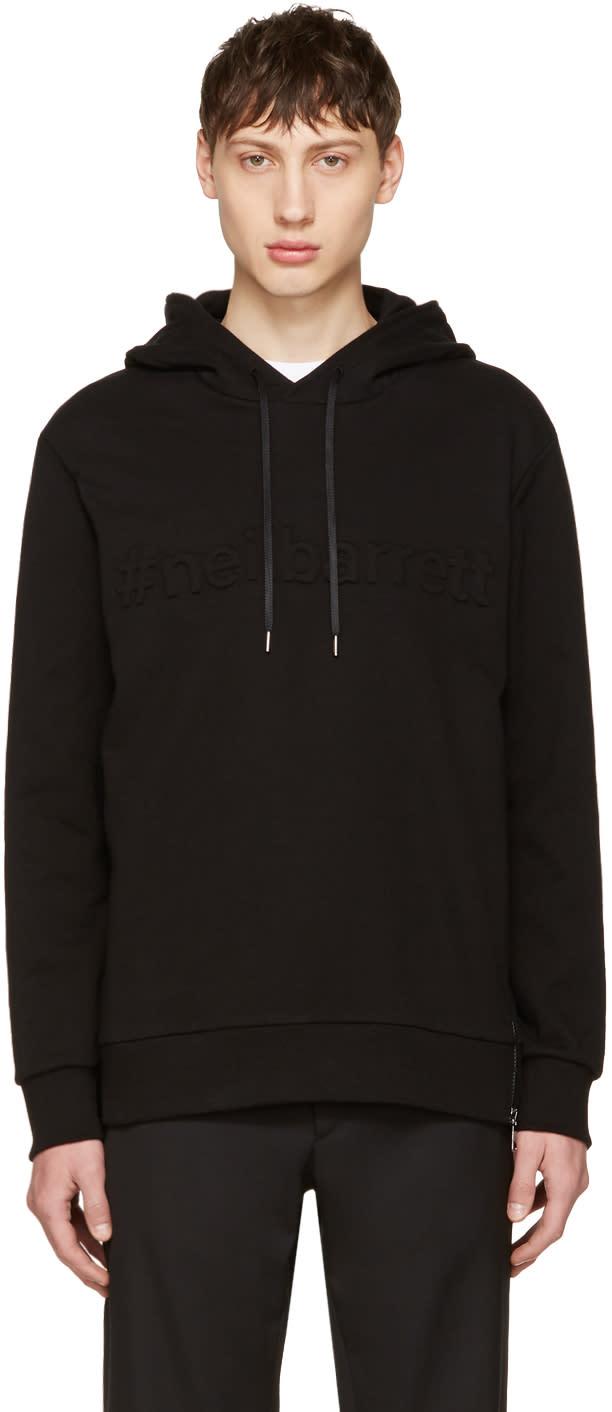 Neil Barrett Black Embossed Logo Hoodie