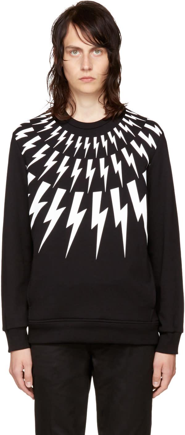 Image of Neil Barrett Black and White Fairisle Thunderbolt Sweatshirt