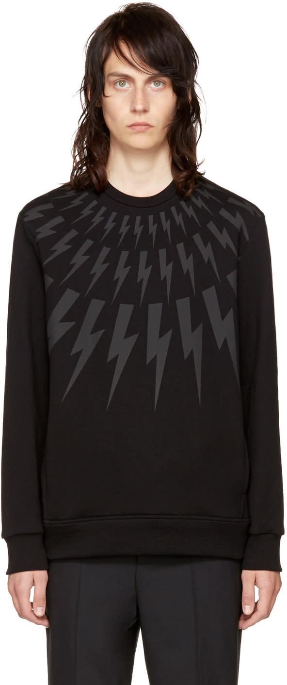 Image of Neil Barrett Black and Grey Fairisle Thunderbolt Sweatshirt