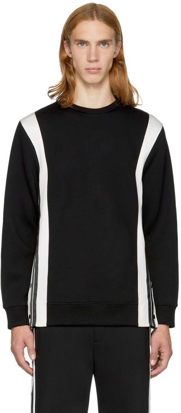 Image of Neil Barrett Black and Off-white Side Snaps Sweatshirt