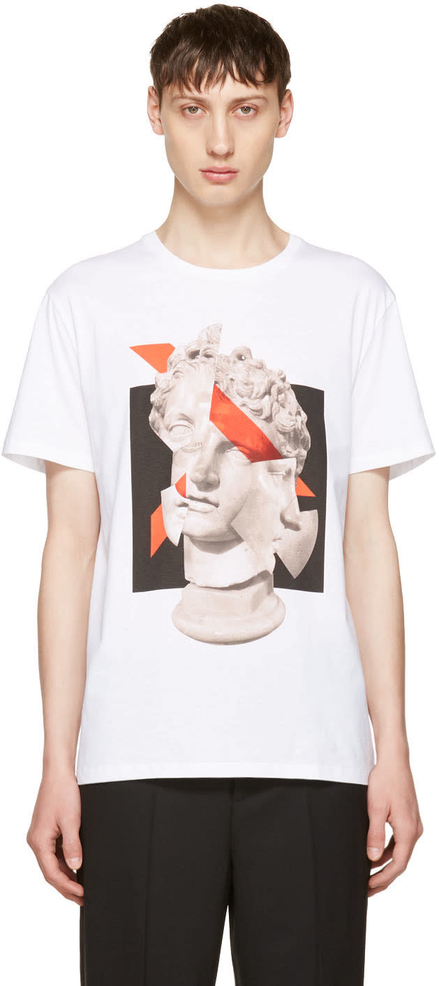 Neil Barrett White Geometric Sculpture T-shirt