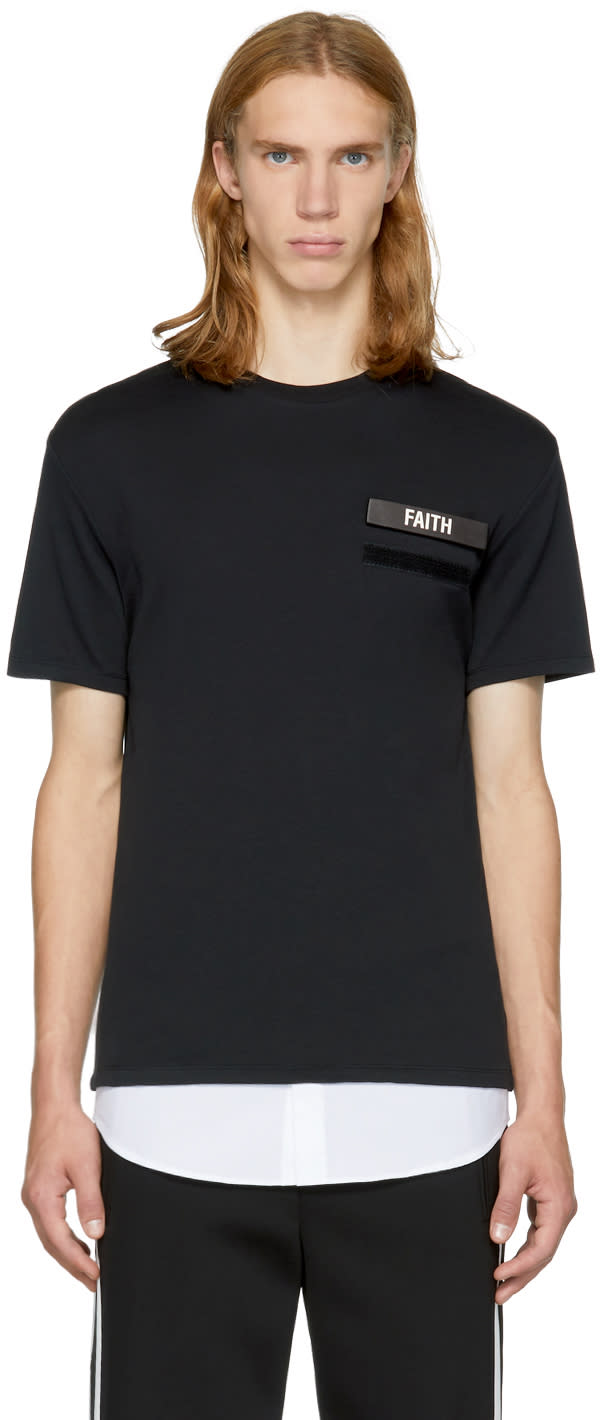 Image of Neil Barrett Black and White Gang Badge T-shirt