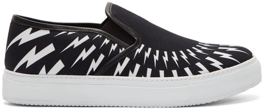 Neil Barrett Black Fairisle Thunderbolt Slip-on Sneakers