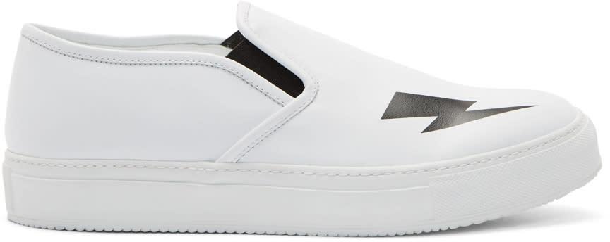 Neil Barrett White Thunderbolt Slip-on Sneakers